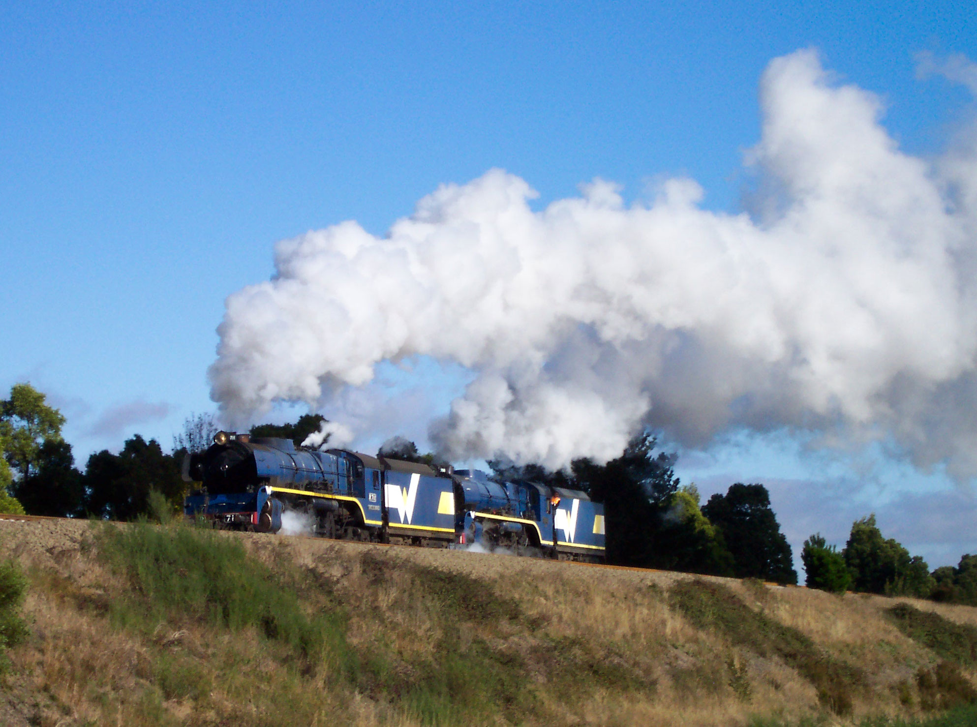 West Coast Railway Class R 4-6-4s numbers 711 and 766 undertake a light engine move from Ballarat to Newport on May 11, 2004. Photo: Tony 'Ashcat' Marsden