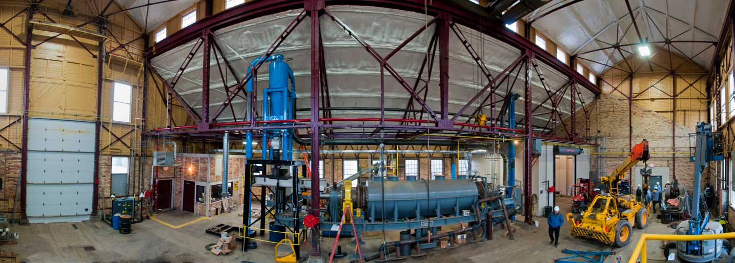 This panorama shows the torrefaction reactor (center) as sited at NRRI's Coleraine Lab, a former Oliver Iron Mining Company locomotive shop.