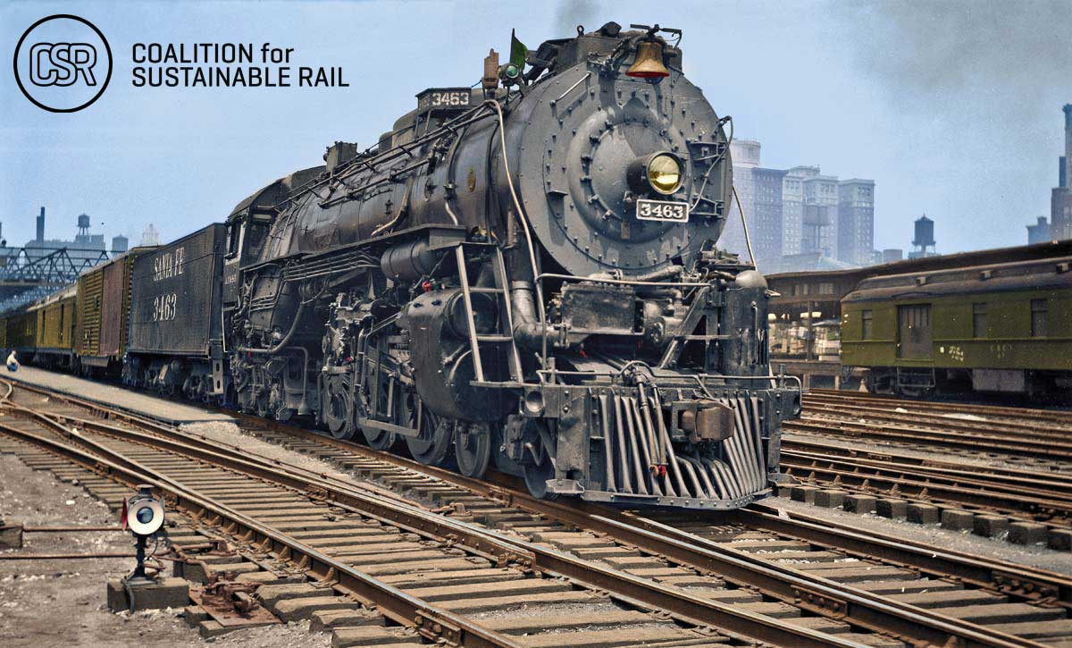 On July 6, 1948 , Santa Fe steam locomotive No. 3463 rests between runs at Dearborn Station. Photographer unknown, from the collection of Warren Scholl, colorized by Jared Enos in 2015.