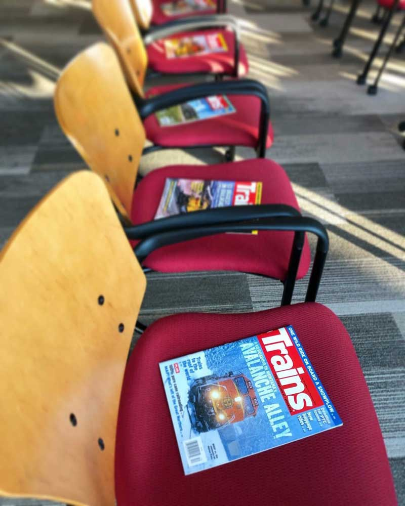 Interesting the future in the rail industry is one of the key goals of this initiative. Kalmbach Publishing Co. was kind enough to donate dozens of magazines for the students to take home with them.