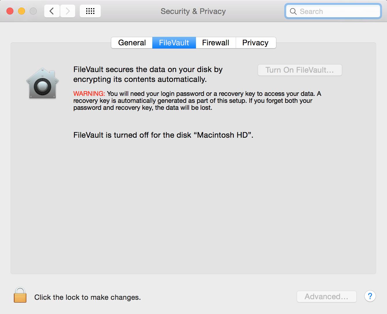 FileVault encryption status in Mac OS X