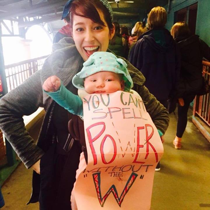KMo and Ruby Bresky at Chicago's Women March.