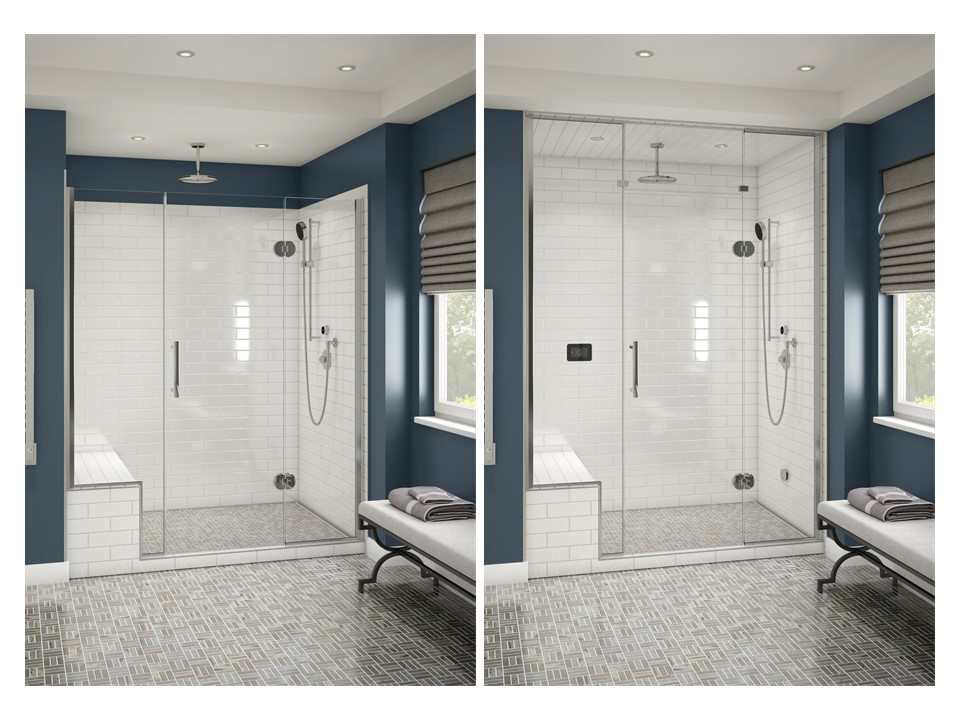 Before on left…after on right. Not much of a difference, except the benefits of this steam shower set up will be phenomenal.