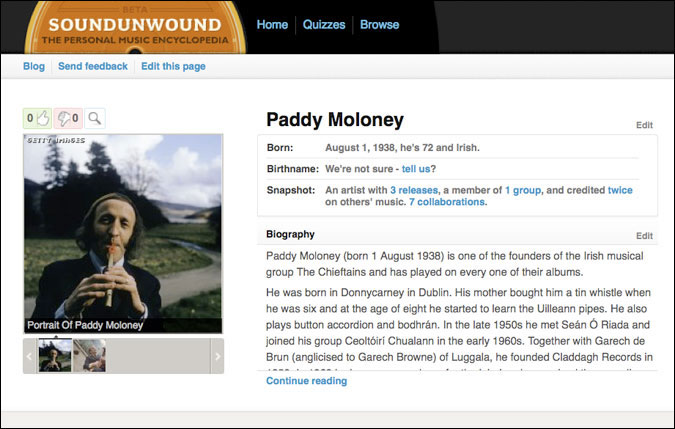 Paddy Moloney of The Chieftains 1973