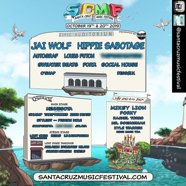 We are excited to announce that we will be performing at the Civic Auditorium for @santacruzmusicfestival this year!!!   Big ups to the SCMF crew for welcoming us to partake in this epic gathering alongside some of our favorite artists - we're so stoked!!