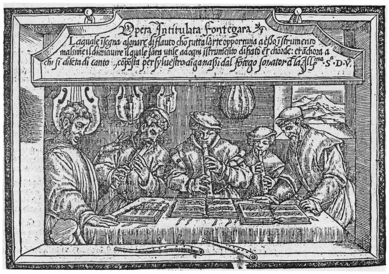 Sylvestro Ganassi, title page of L'Opera intitulata Fontegara, Venice, 1535