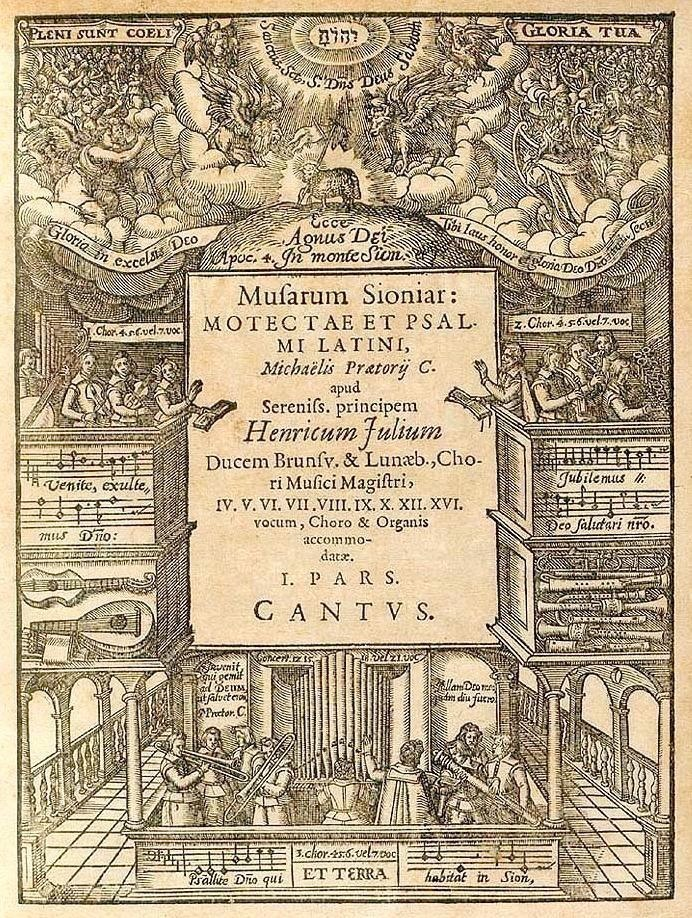 Title page: Musarum Sioniar[um] motectae et plsalmi latini (1607), Michael Praetorius (1571-1621), published by Abraham Wagenmann, Nuremberg.