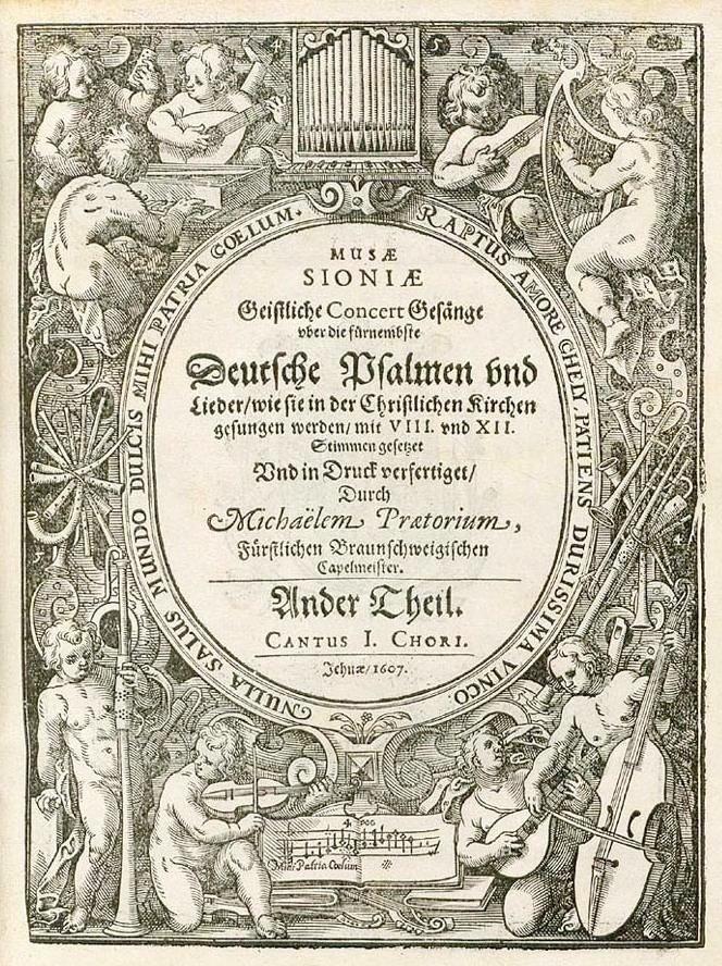 Michael Praetorius, title page Musae sioniae, Geistliche Concert Gesänge, 1607