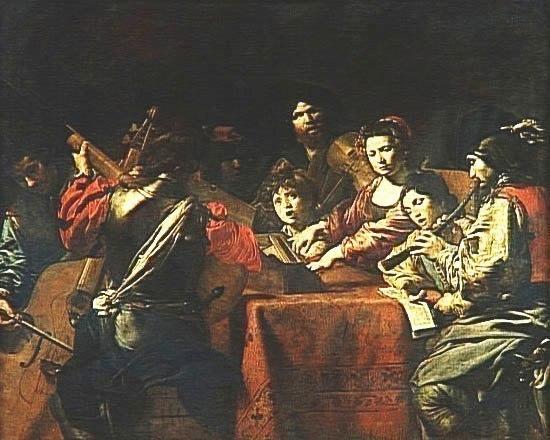 Un Concert, Valentin de Boulogne (1594-1632). Louvre, Paris.