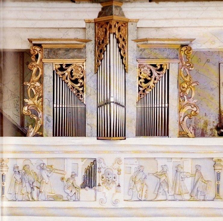 In Weikersheim Castle, Germany. The organ is by Georg Schweitzer, 1602