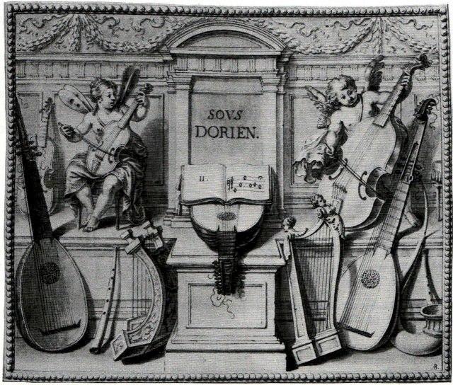 Denis Gaultier, 1648-52. The La Rhetorique des dieux, a lute manuscript by Denis Gaultier has this illustration of the Dorian mode.