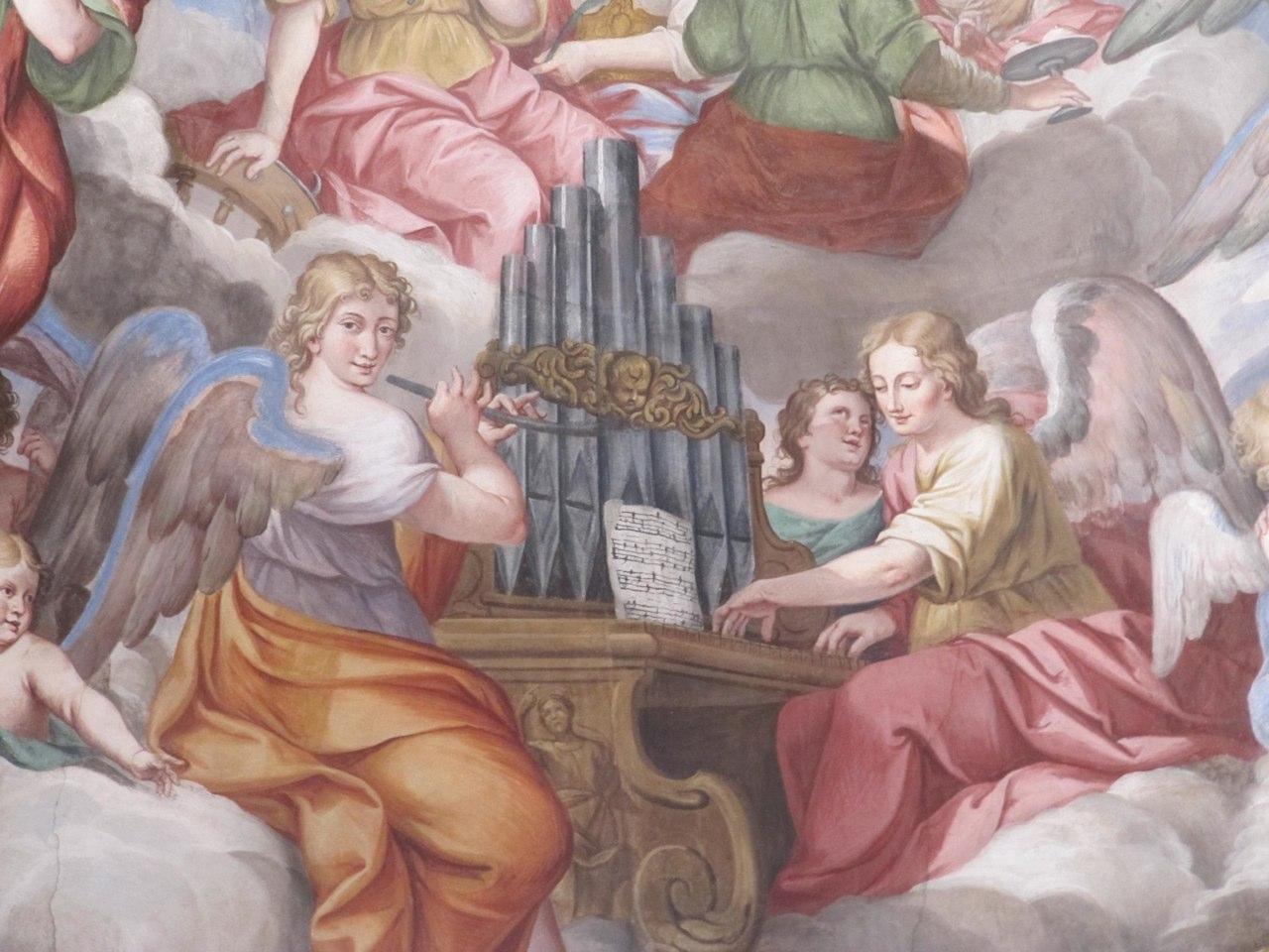 Romagnano Sesia, Chiesa della Madonna del Popolo, Frescoes above the alter by Tarquinio Grassi, 1683