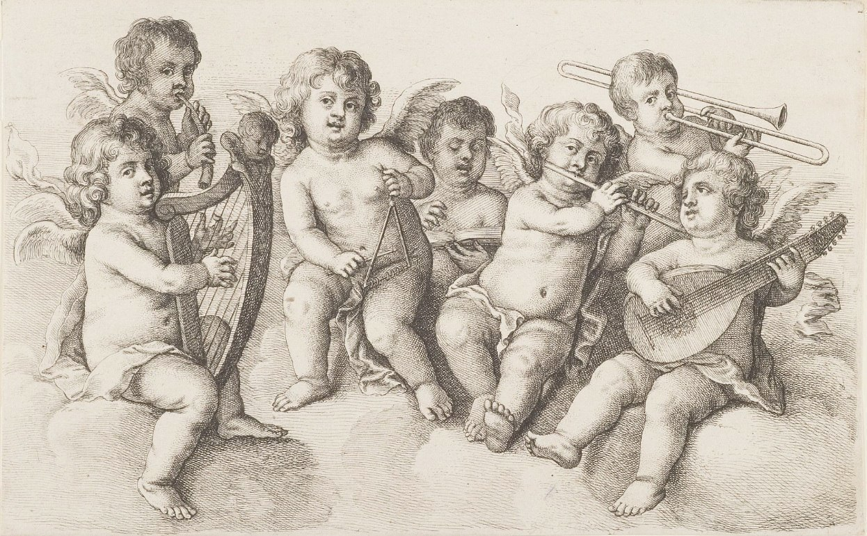 Wenzel Hollar (1627-1677), Engelkonzert auf Wolken. Braunschweig, Herzog Anton Ulrich-Museum.