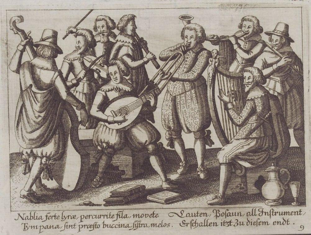 Anon. Neun Musikanten mit ihren Instrumenten. Herzog August Bibliothek, Wolfenbüttel.