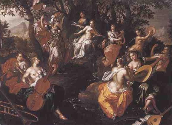 Minerva and the Muses, Hendrik de Clerck. c.1570- c.1629)