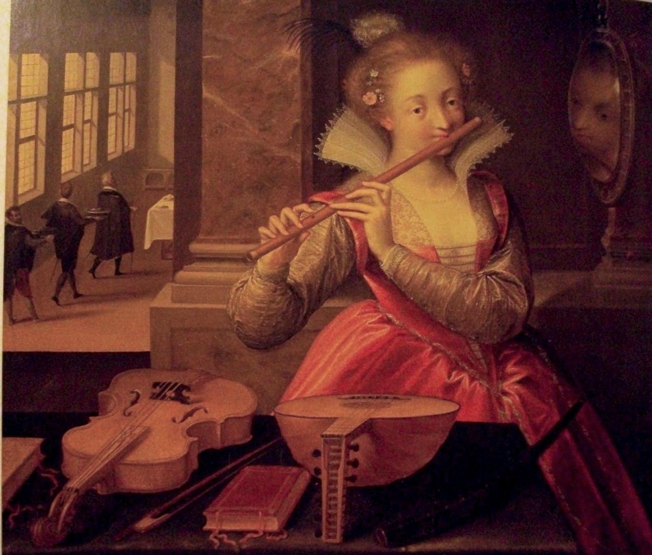 Dirk de Quade van Ravesteyn (f. 1589-1619). Allegory of Music (Die Flötenspielerin), ca. 1600. Vienna, Kunsthistorisches Museum. Contributed by Josué Melendez.