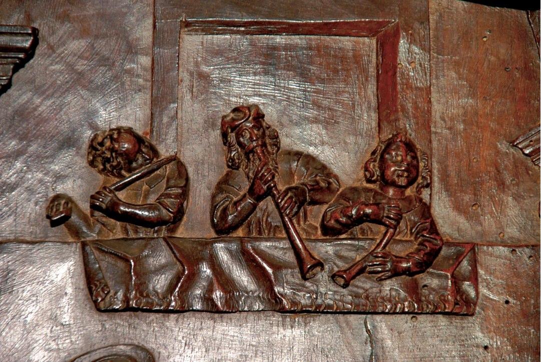 Carved wood panel in the Monastery of San Martiño Pinario in Santiago da Compostela.