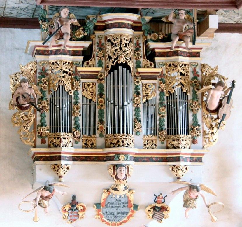 Cherub musicians on the organ case in Bedheim, Südthüringen. The organ, called the Schwalbennestorgel was built by Johann Philipp von Hessberg in 1721.