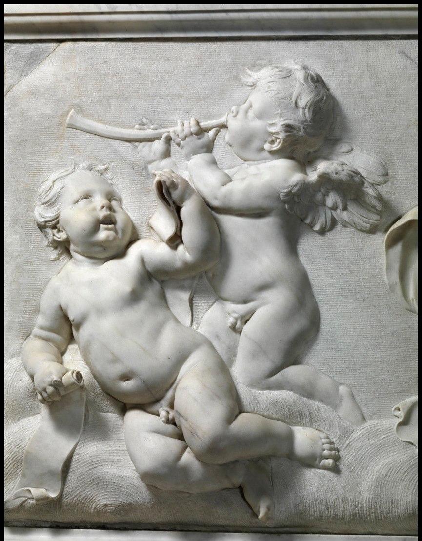 Marble relief of cherubs by Francois Duquesnoy (1639) on the altare Filomarino, Chiesa dei Santi Apostoli, Naples.