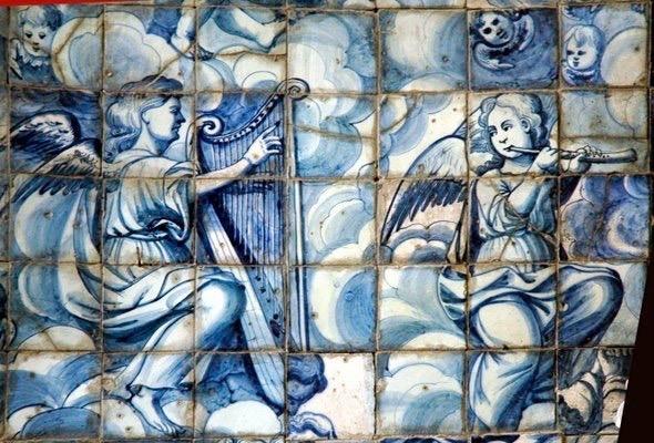 Igreja Matriz de Alte - panel of painted ceramic in chancel - First half of 18th century.