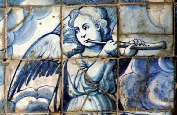 Igreja Matriz de Alte - panel of painted ceramic in chancel - First half of 18th century. Detail