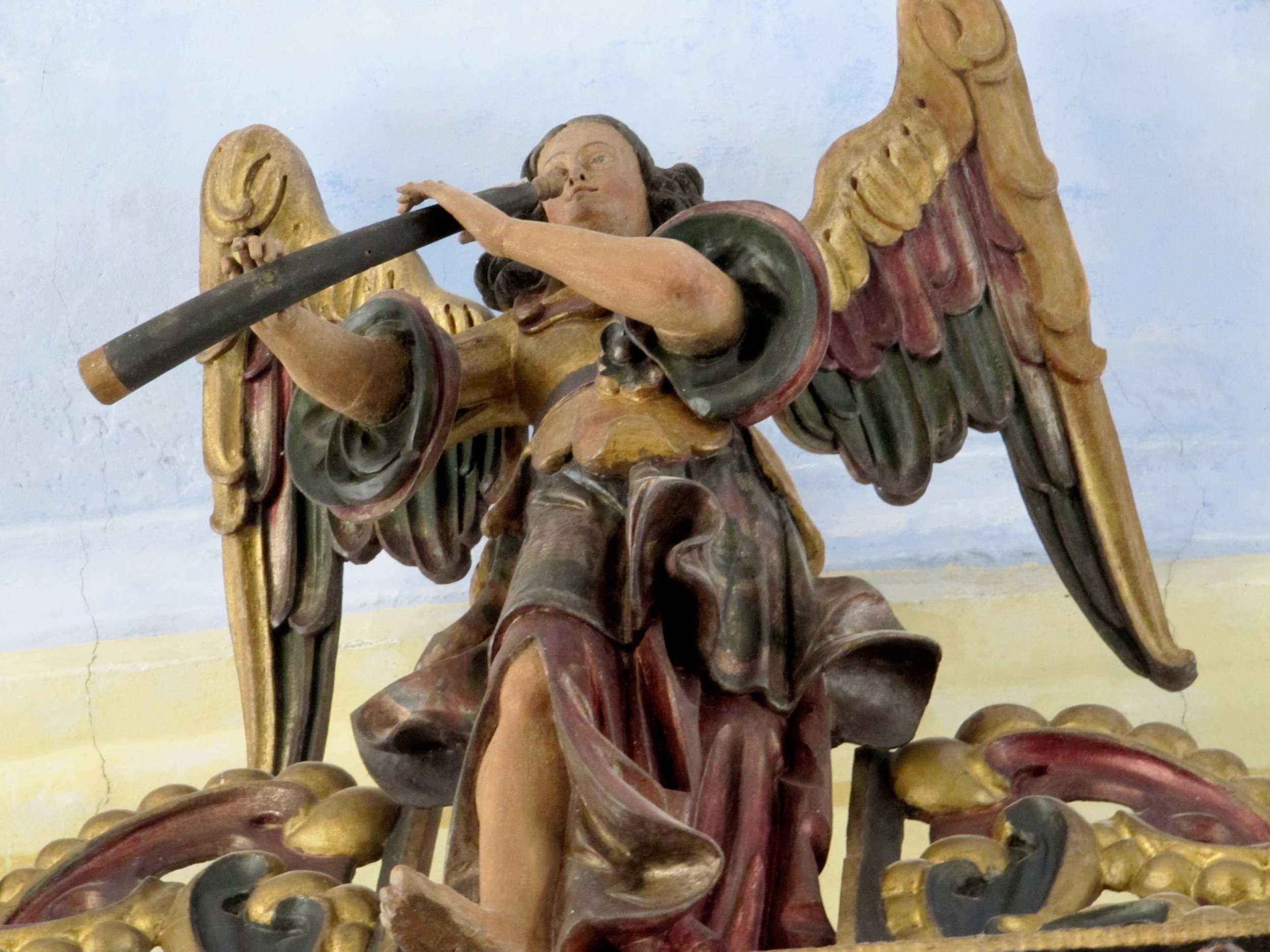 Kralovice, Czech Republic. Kostel zv. Petra a Pavla, Angel cornettist on the organ