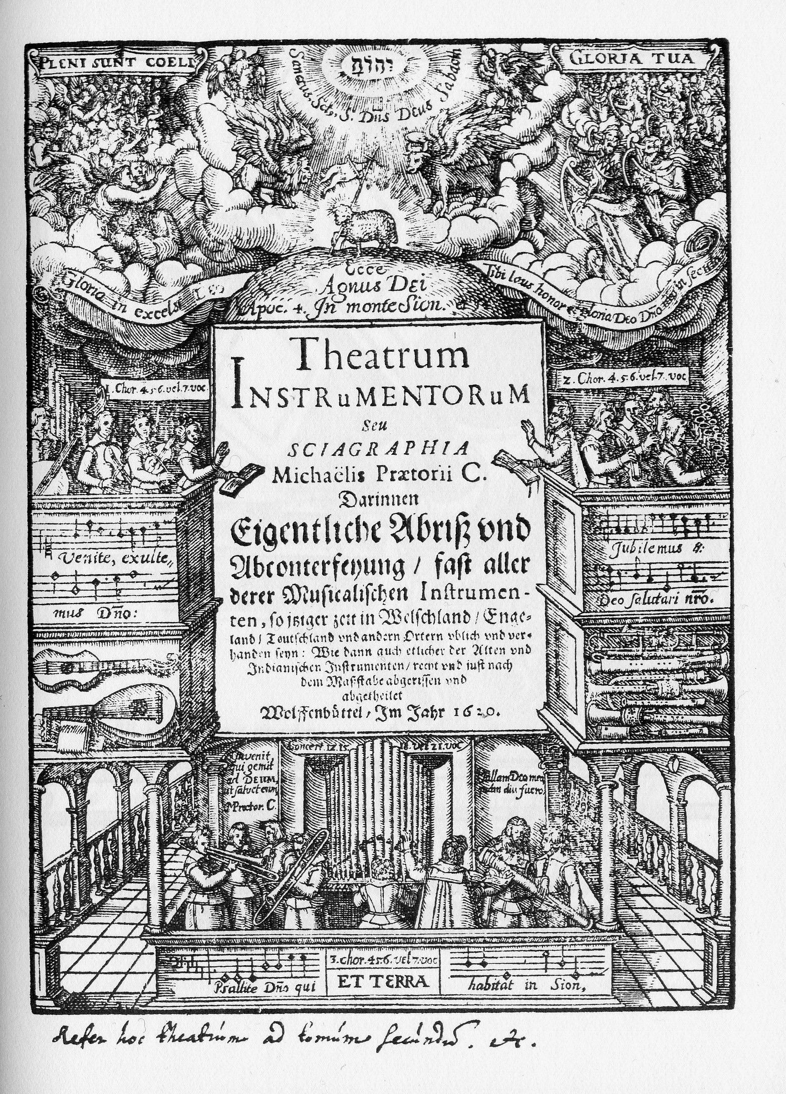 Title page: Theatrum Instrumentorum (1618/1620), woodcut, Michael Praetorius (1571-1621).