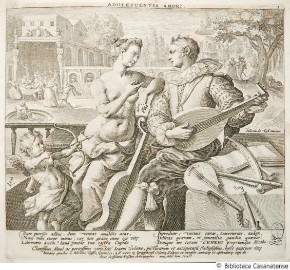 From Età dell'uomo, scene allegoriche: Adolescentia amori (1596), engraving by Crispijn I de Passe (1564-1637) after Maarten de Vos (1532-1603).