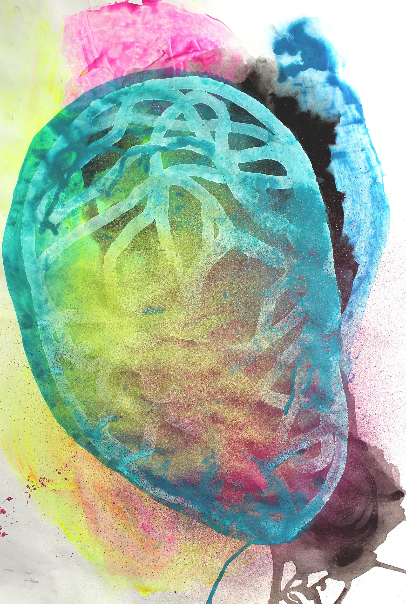 "acrylic paint, ink, chalk pastel on paper. 18""x24"""