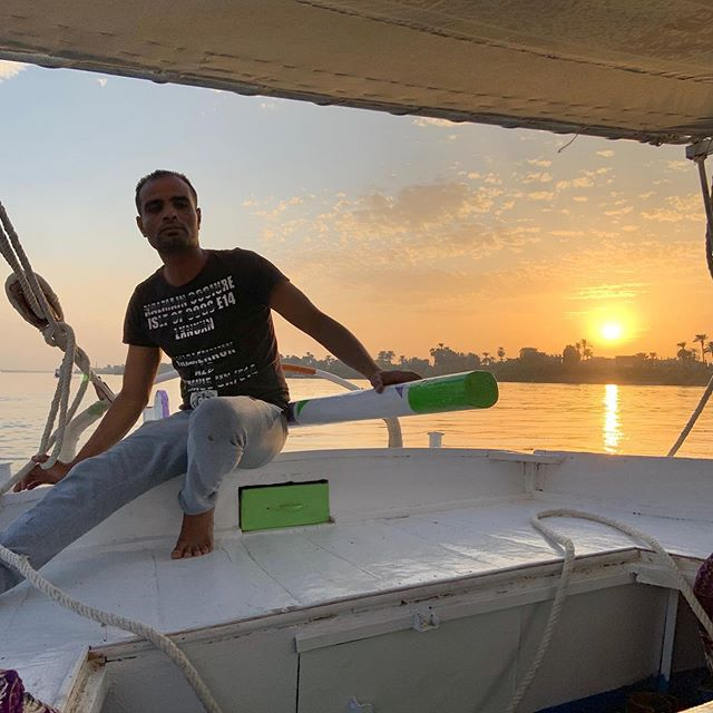 Amazing #sunset #cruise in a #felucca on the #Nile.  #egypt #luxor #iphonexr #nofilter