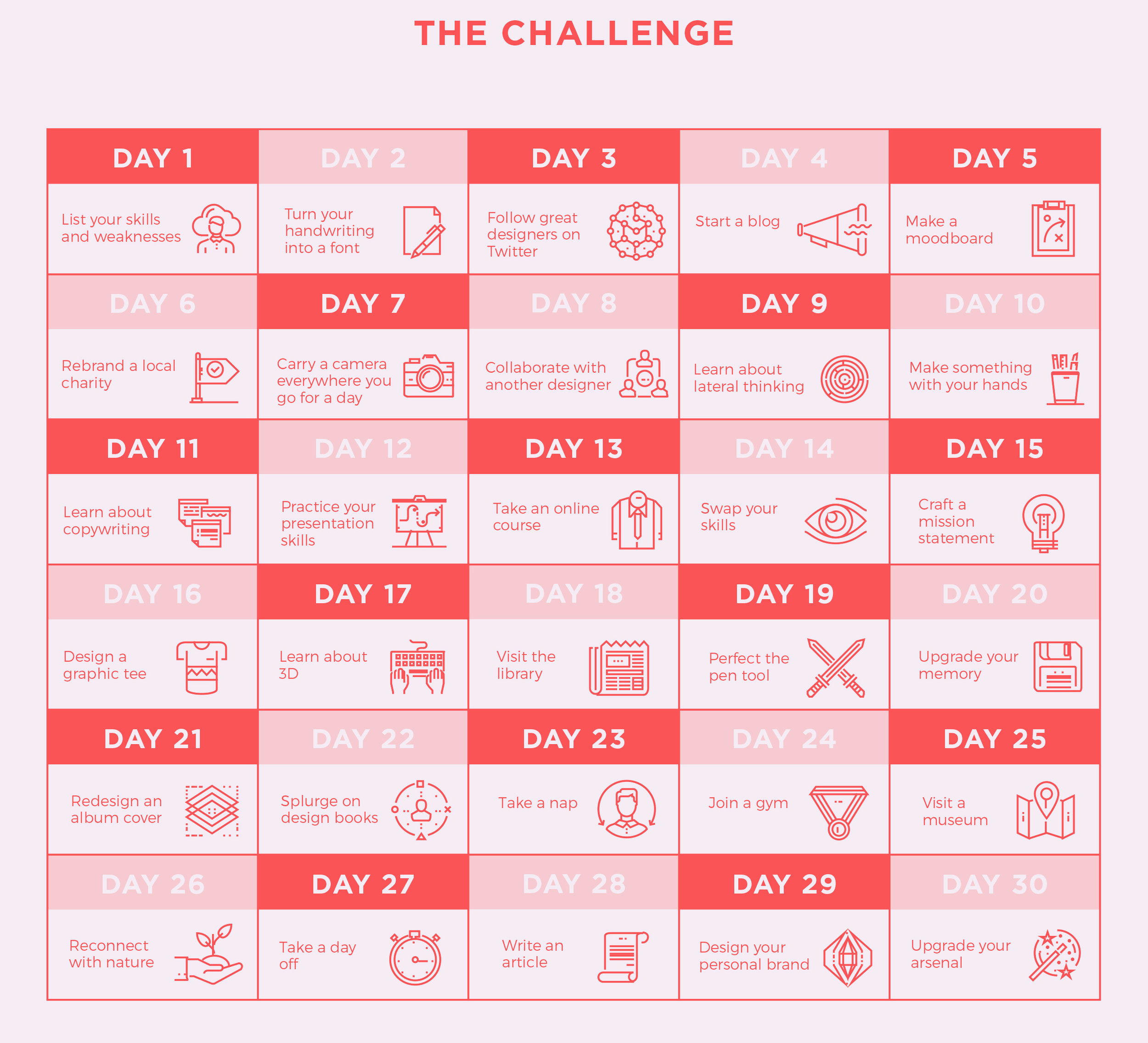 This 30 day challenge is from  Creative Market