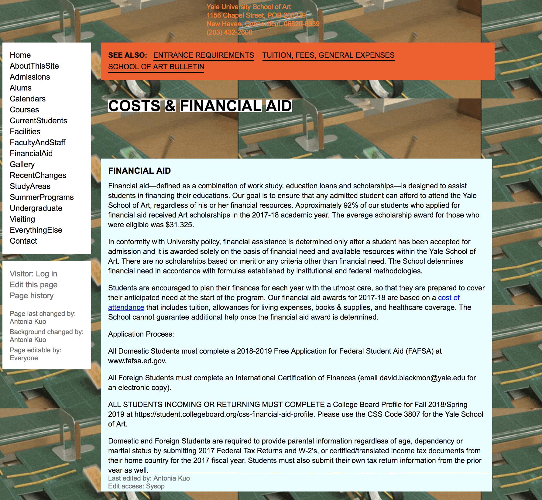Yale School of Design Website