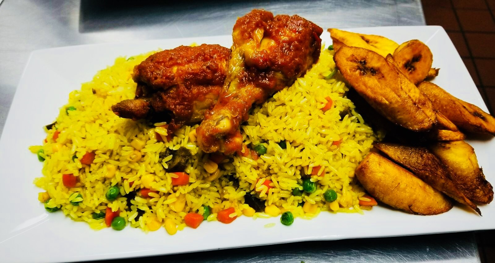 Fried Rice Family Meal $39.99  Contains 1/2 a tray of Fried Rice and 6 pieces of chicken.  Fried Rice is rice sautéed in our special curry sauce with mixed vegetables and chicken.  Pan size is 2 9/16 inches deep and 10 3/8 inches wide