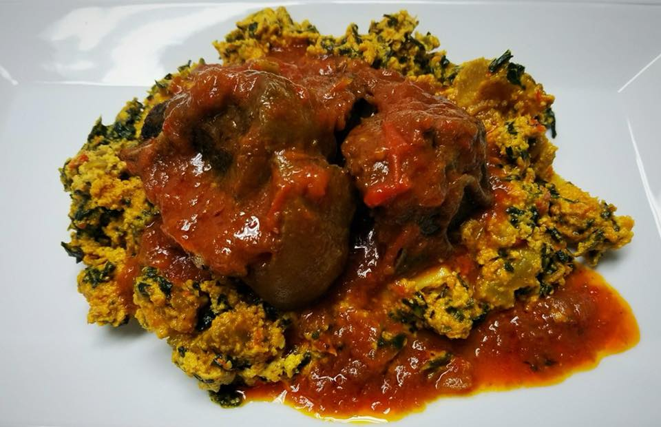 Egusi Sauce With Pounded Yam Family Meal $45.99  Large serving of Egusi soup, with 6 pieces of chicken and 8 wraps of pounded yam.  Egusi contains spinach and protein rich plant seed sautéed in blended pepper and habanero sauce with little chunks of beef.  Bowl Size is 2 inches deep and 9 inches wide