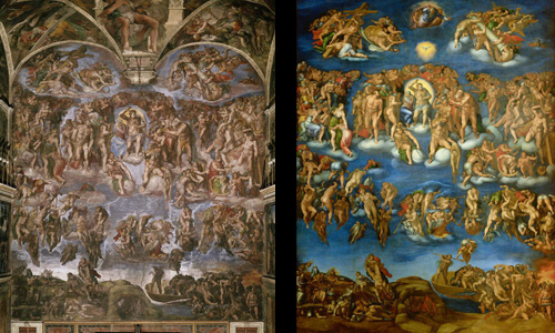 A restored section of the Sistine Chapel