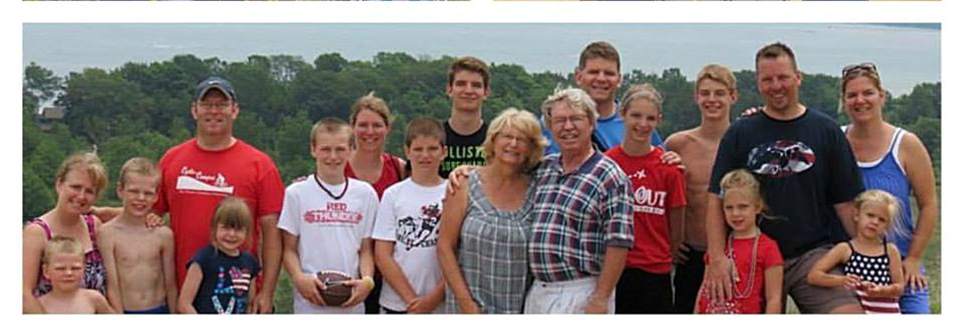 Gary and Carol with their children and grand-children