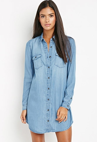 Denim tunic  here . Dress it down with booties + an over piece, or dress it up with heels & a blazer. Or, wear it as is!