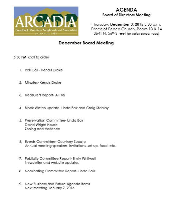 Click for Next Meetings Agenda