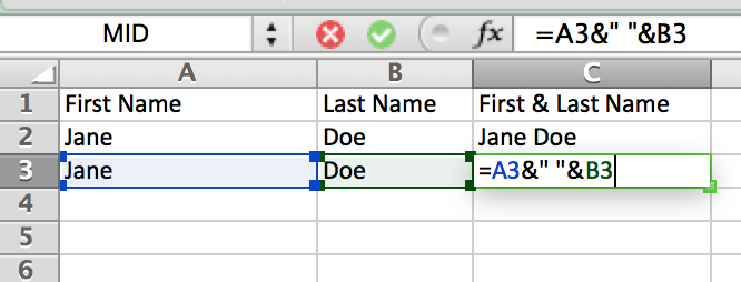Easily combine content of two cells using the & in Excel.