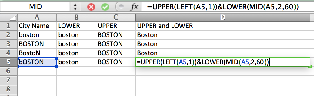 UPPER and LOWER formulas in Excel