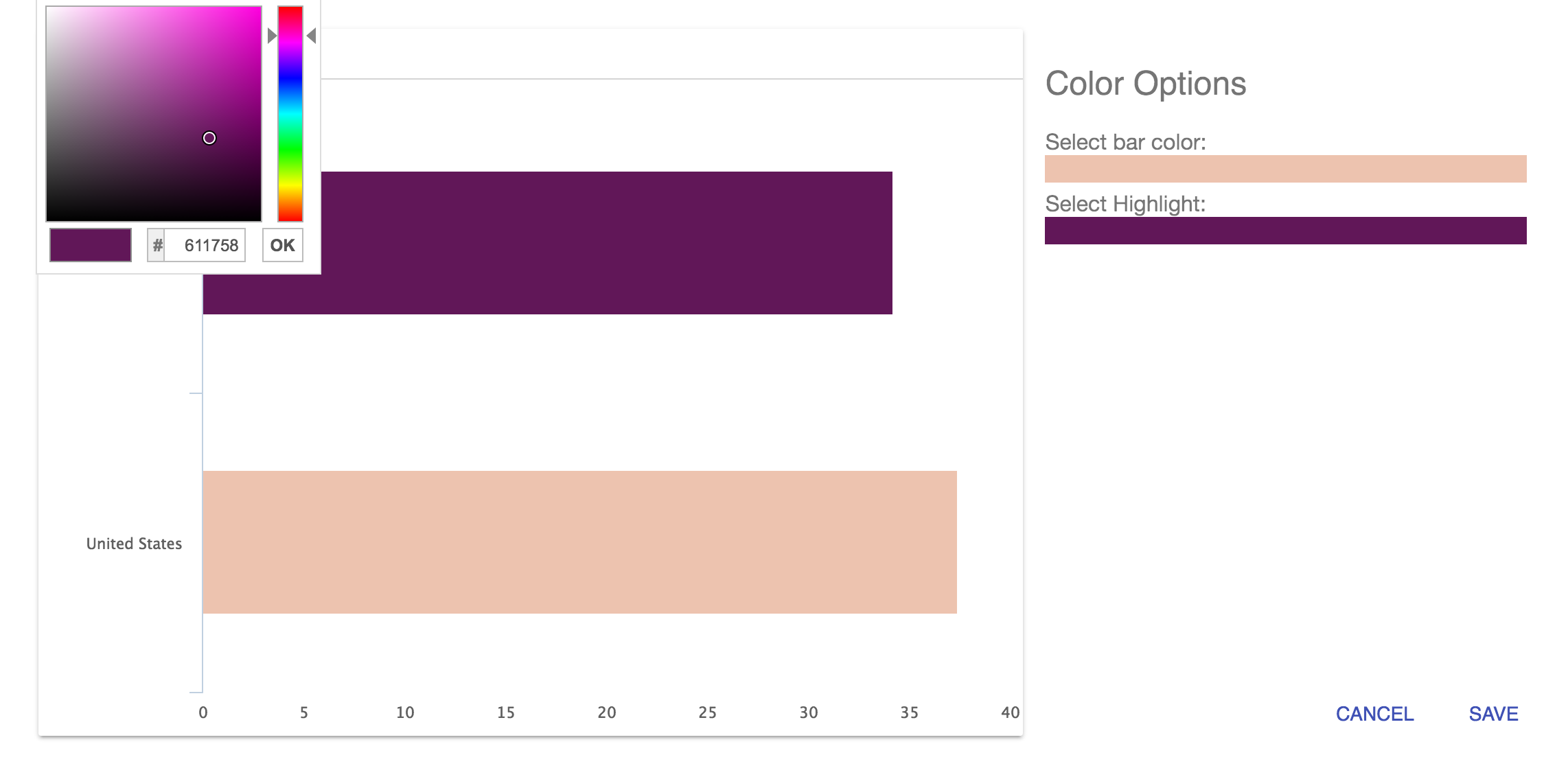"""The """"Highlight"""" option is found in the Options menu, in """"Choose Colors."""" Note that highlights are not available for all types of charts."""