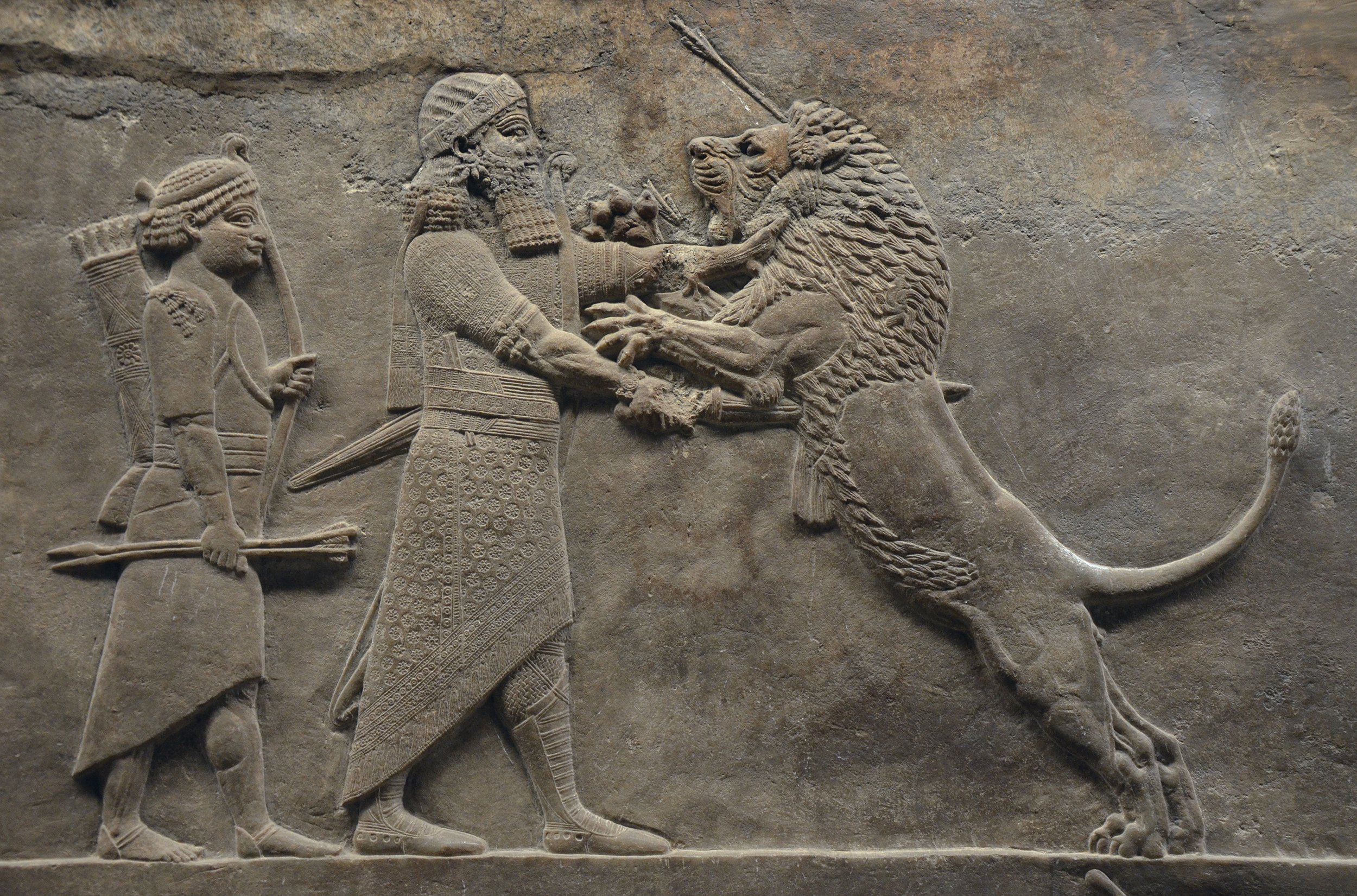 A relief showing King Ashurbanipal of Assyria (now northern Iraq), c. 645-635 B.C. In addition to his lion-fighting prowess, Ashurbanipal was also famed for building what many scholars consider the first true library.