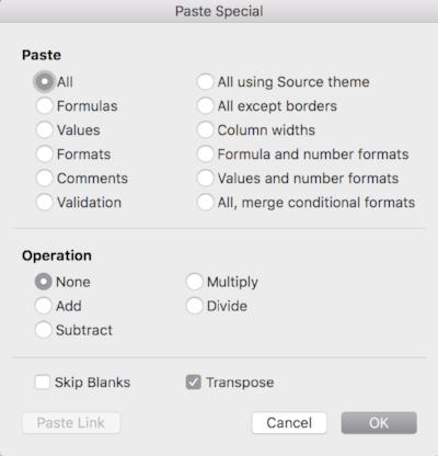 Select Transpose, Click OK.