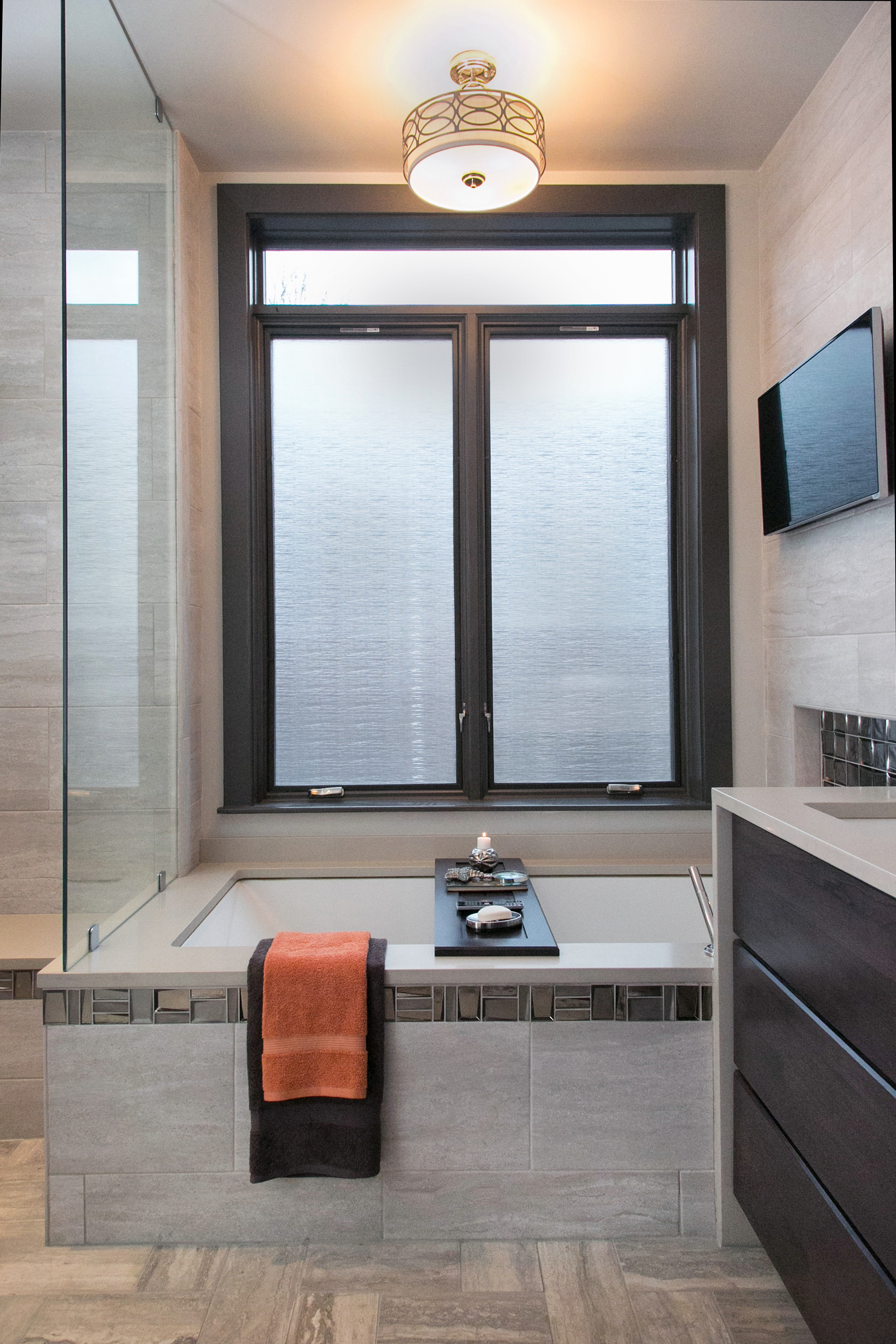 Chestnut Hill Master Bathroom:   140 Sq.ft Renovation - House Built 1938 - Contemporary Style