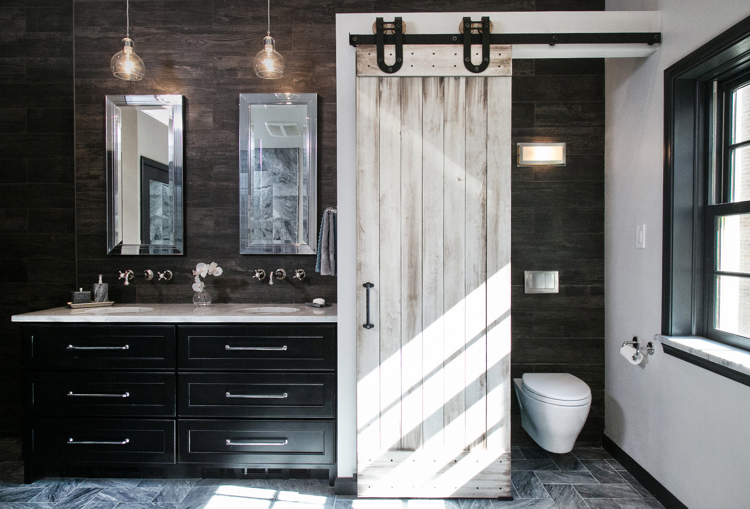 Rittenhouse Square Master Bathroom:  220 Sq.ft Renovation - House Built 1903 - Rustic Luxe