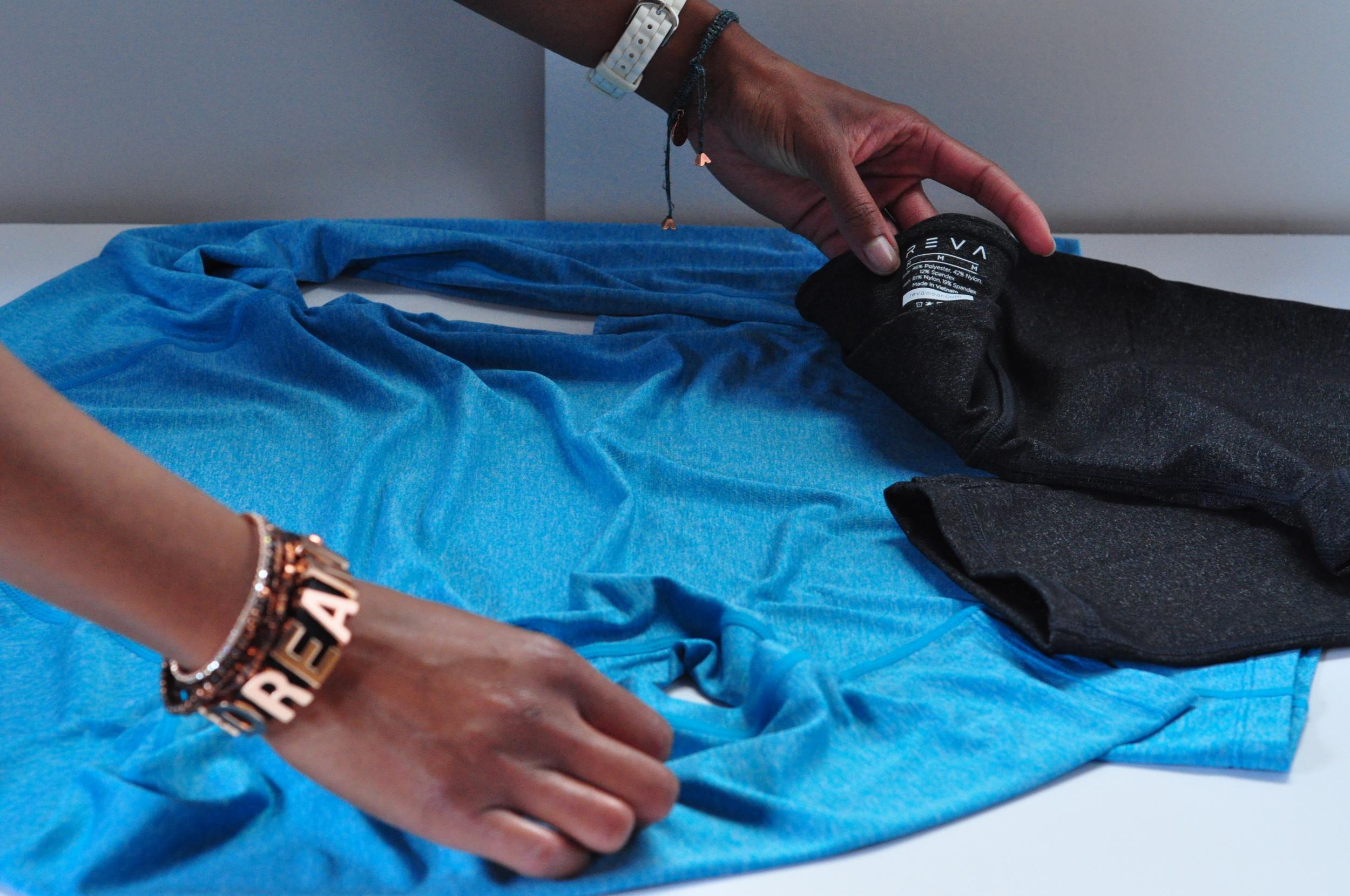 Styling Reva Wear's Challenge Me Tee & Vitality Capri for photo shoot
