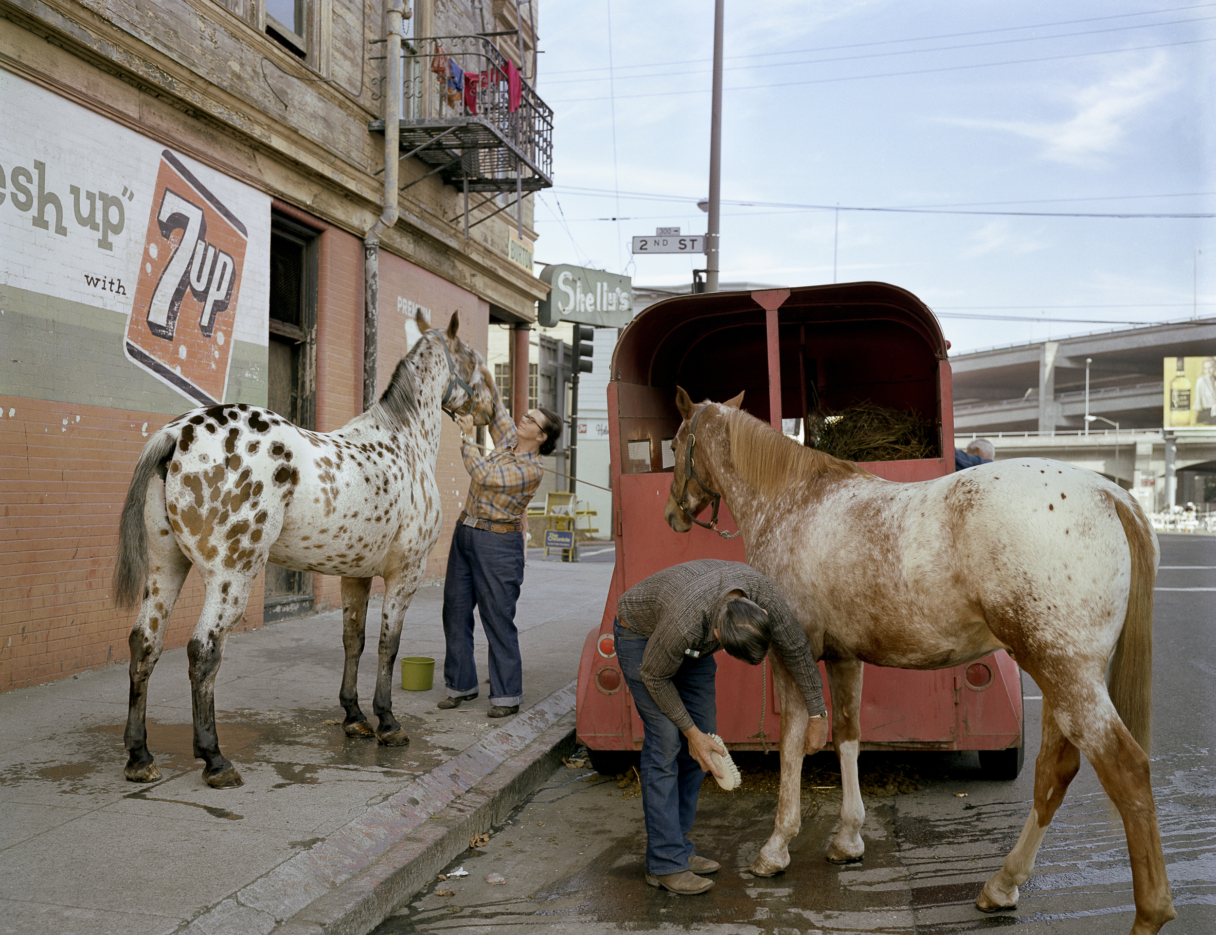 JANET DELANEY Skip Wheeler and his wife groom their horses after Veteran's Day Parade, Folsom at 2nd Street, 1980 Archival Pigment Print, 2016 16 x 20 inches, edition of 5 20 x 24 inches, edition of 2 30 x 40 inches, edition of 2