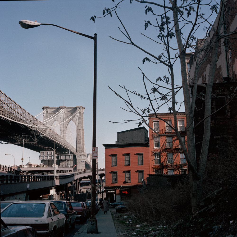 JANET DELANEY Brooklyn Bridge from Dover Street, 1986 from New York City 1984-1987 Archival Pigment Print 15 x 15 inches, edition of 5 24 x 24 inches, edition of 2