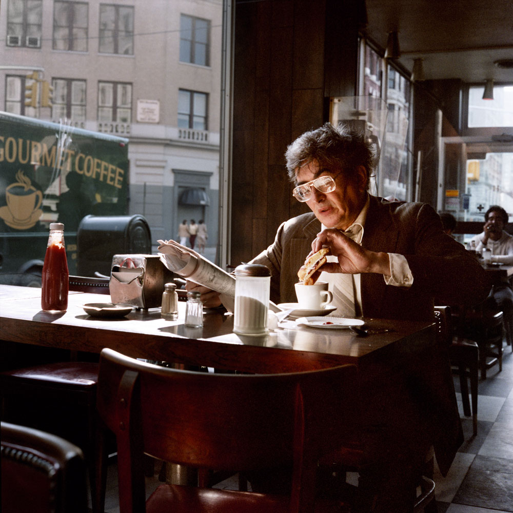 JANET DELANEY Coffee and a Sandwich, 1985 from New York City 1984-1987 Archival Pigment Print 15 x 15 inches, edition of 5 24 x 24 inches, edition of 2