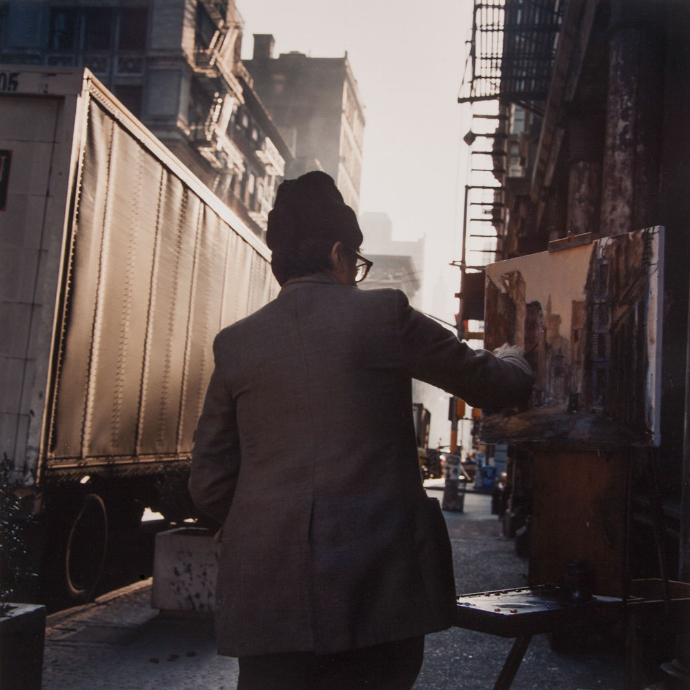 JANET DELANEY Painter, SoHo, 1984 from New York City 1984-1987 Archival Pigment Print 15 x 15 inches, edition of 5 24 x 24 inches, edition of 2
